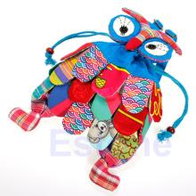 Free shipping Kid Children Owl Ethnic Colorful Stitch Backpack Schoolbag Book Bag Preschool