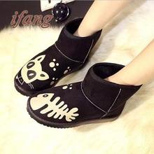 2016 mujeres de moda nieve botas botines calientes mujer botas y zapatos mujer otoño invierno zapatos cómodos lindos(China (Mainland))