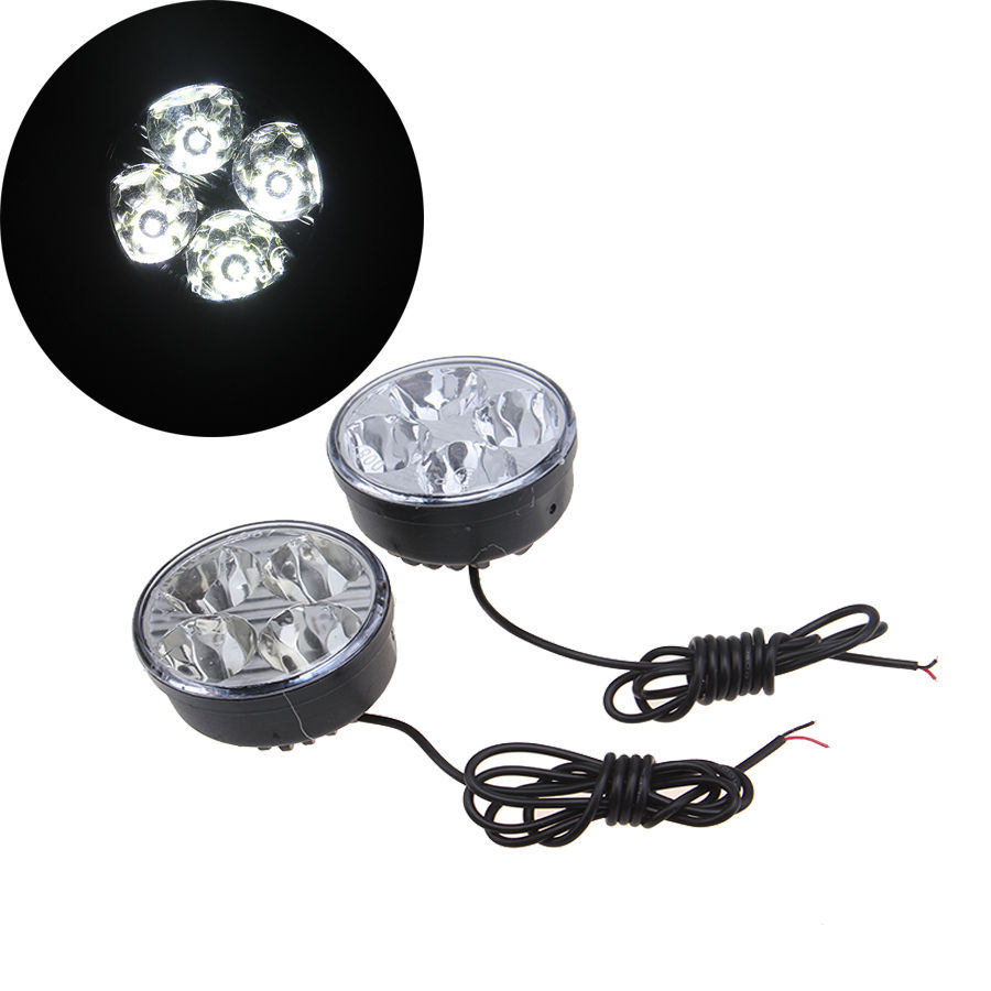 -90% OFF 2pcs Round Auto Car Lights 4 LED DRL Driving Daytime Running Head Fog Lamp White Color Light(China (Mainland))