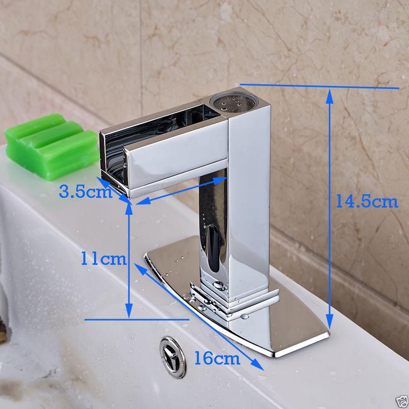Купить Chrome Раковины Ванной Комнаты Кран Автоматическая Рука Сенсорный Смеситель Одноместный Холодной Водопроводной Воды Свет С Крышкой