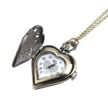Retro Bronze Alloy Hollow Out Heart Pocket Necklace Watch Christmas Gift High Quality Relogio Feminino Hours relojes mujer Clock(China (Mainland))