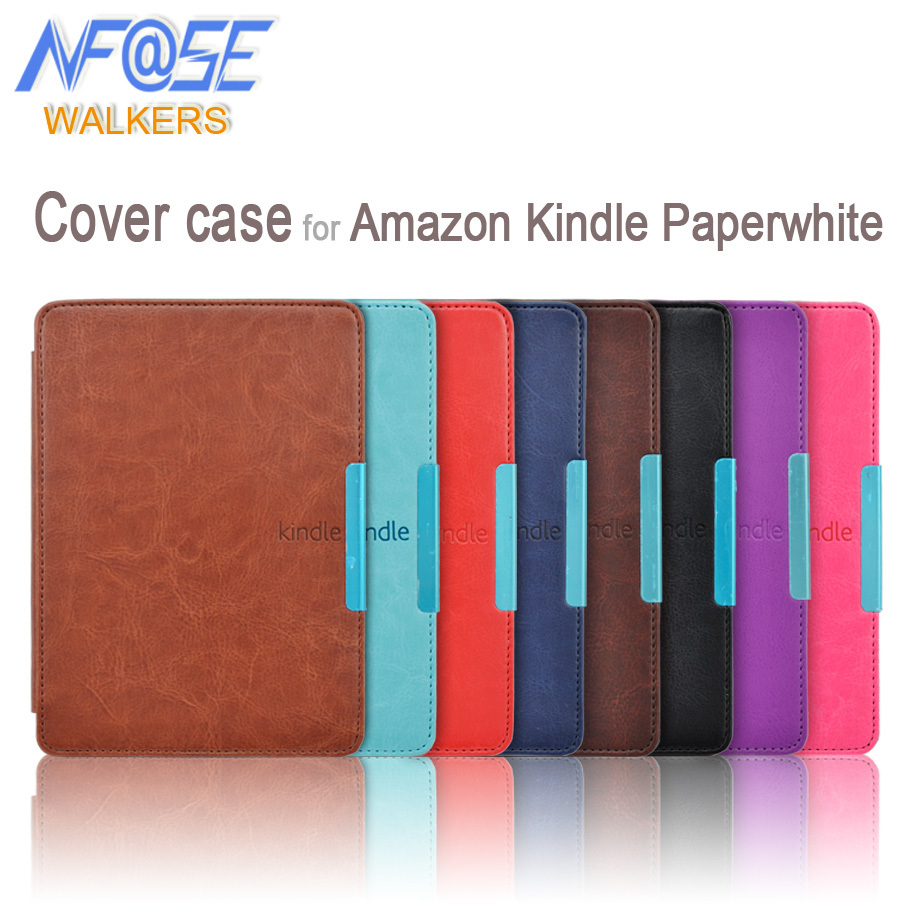 Smart slim leather cover with magnet closure case for Amazon kindle paperwhite 1/2/3 2nd 3nd ebook/ereader+film+Stylus(China (Mainland))