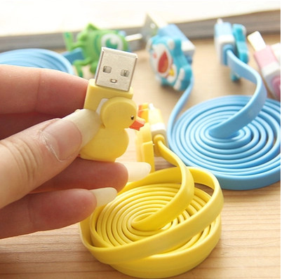 Wholesale 2015 Free shipping Catoon Micro USB Cable Cell Phones 100cm Ultra Fast USB Data Charger Cable Line(China (Mainland))