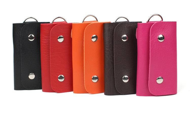 Women Men Portable PU Leather 2 Snaps Key Holder Case Wallet Keys Organizer Manager 6 Key