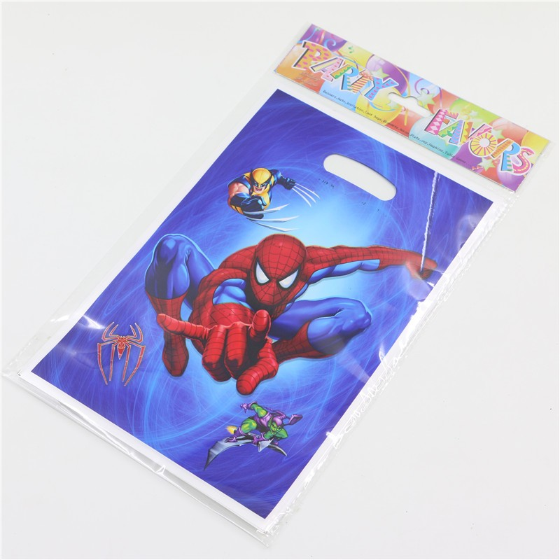 Hot !Happy Birthday Party Decoration Kits Supplies Favors Spider Man Kid Boy Girl Baby Loot Bag Gift Bag 10pcs/lot P217(China (Mainland))