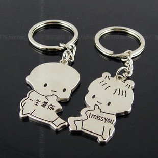 Free Shipping wiht EMS wholesale keychain/couple keychain/20couple/lot/110746 lovers small break hai bottle keychains add-ons