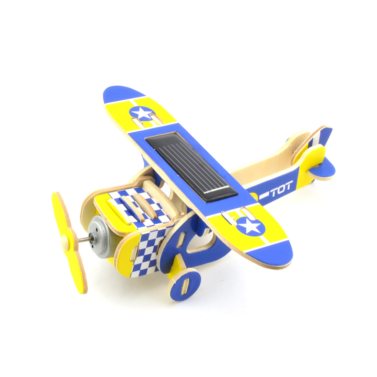 DIY Educational Assembly Puzzle Solar Powered 3D Wooden Squab Plane Helicopter Aircraft Woodcraft Toy (Blue)(China (Mainland))