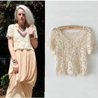 blusas ahuecan hacia fuera camisas de encaje Casual Floral Crochet ...