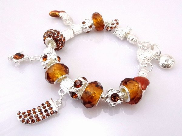 Hot!Free Shipping wholesale Silver plated jewelry charms   .clear crystal beads bracelet  Pp07