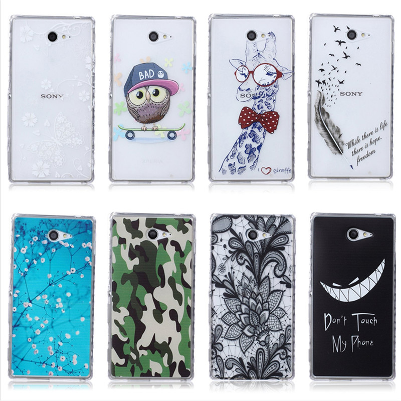 For Sony Xperia M2 Cute Giraffe Bear Owl Silicone Cover Case For Sony Xperia M2 Mandala Flower Butterfly Tree Back Gel Coque(China (Mainland))