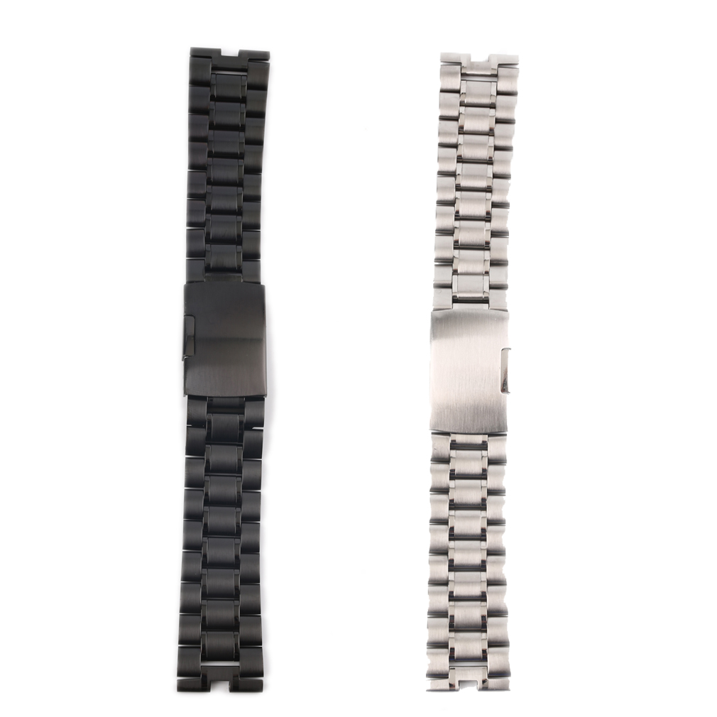 Stainless Steel Metal Watch Band Strap Bracelet 175mm Length 22mm Width with black/silver color(China (Mainland))