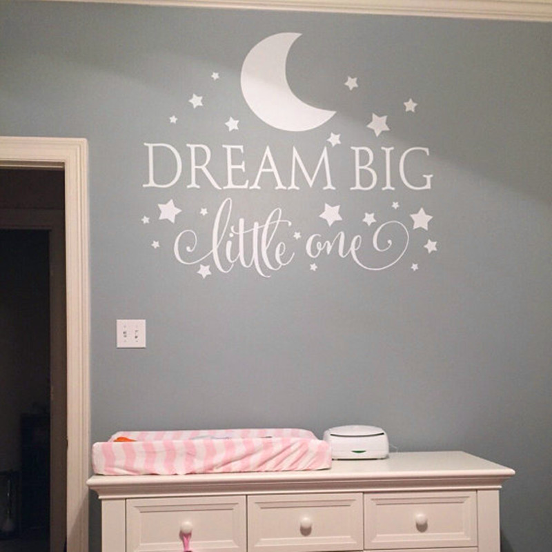 dream big little one quotes wall decal nursery wall pics photos wall stickers for baby kids bedroom