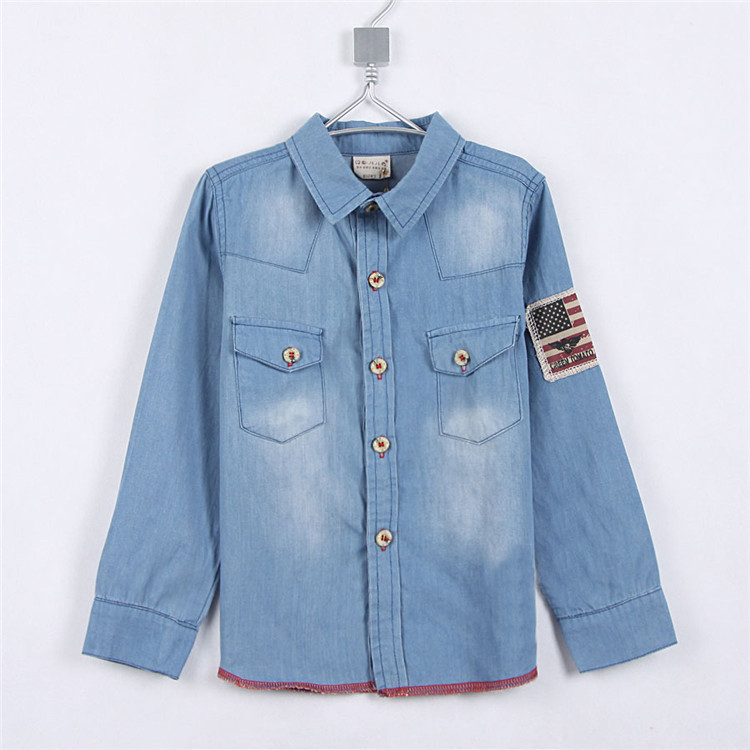 Spring And Autumn New Style Baby Boys Casual blouses Shirts 2016 Little Boys Cowboy Shirts 2000 blouse camisa shirt(China (Mainland))