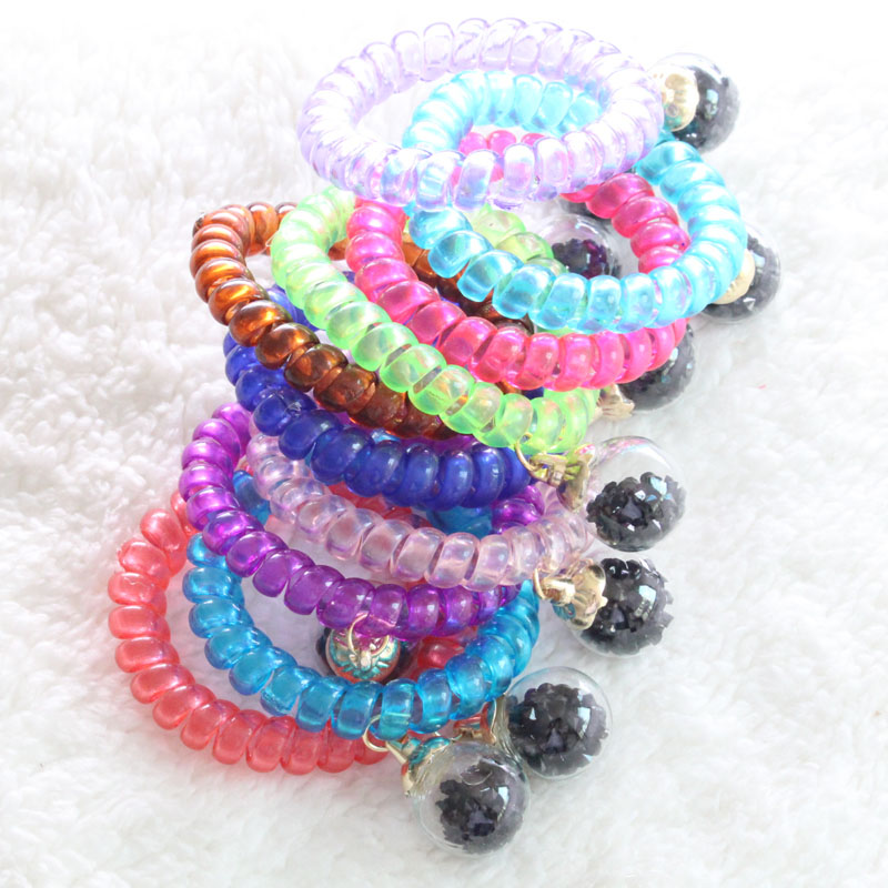 2016 New Arrivals High quality Korea Candy colors Full of crystal clear glass ball High elasticity hair rope Free shipping(China (Mainland))