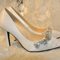 2016 Handmade Wedding Shoes Plus Size Satin Pointed Toe Pumps High Heel Wedding Shoes White Color