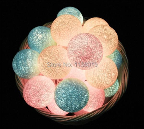 20 Balls/pcs sweet Pastel Cotton Ball String Fairy lights Party home Patio wedding Romantic decor(China (Mainland))