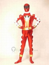 Red White and Gold Shiny Metallic Zentai Suit (zt380)(China (Mainland))