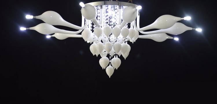 Купить Диаметр 1100 мм гостиная Европа круглые хрустальные Люстры творческий нержавеющей стали круглые светодиодные лампы Лебедь