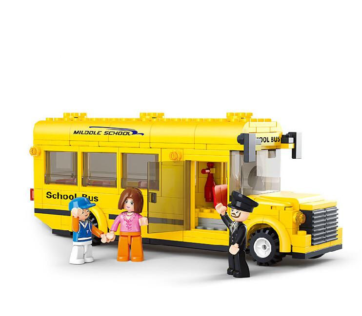 2015 New Sluban 218Pcs City Milddle School Bus Minifigures Building Blocks Brinquedos Bricks Education Toy Compatible With SY(China (Mainland))