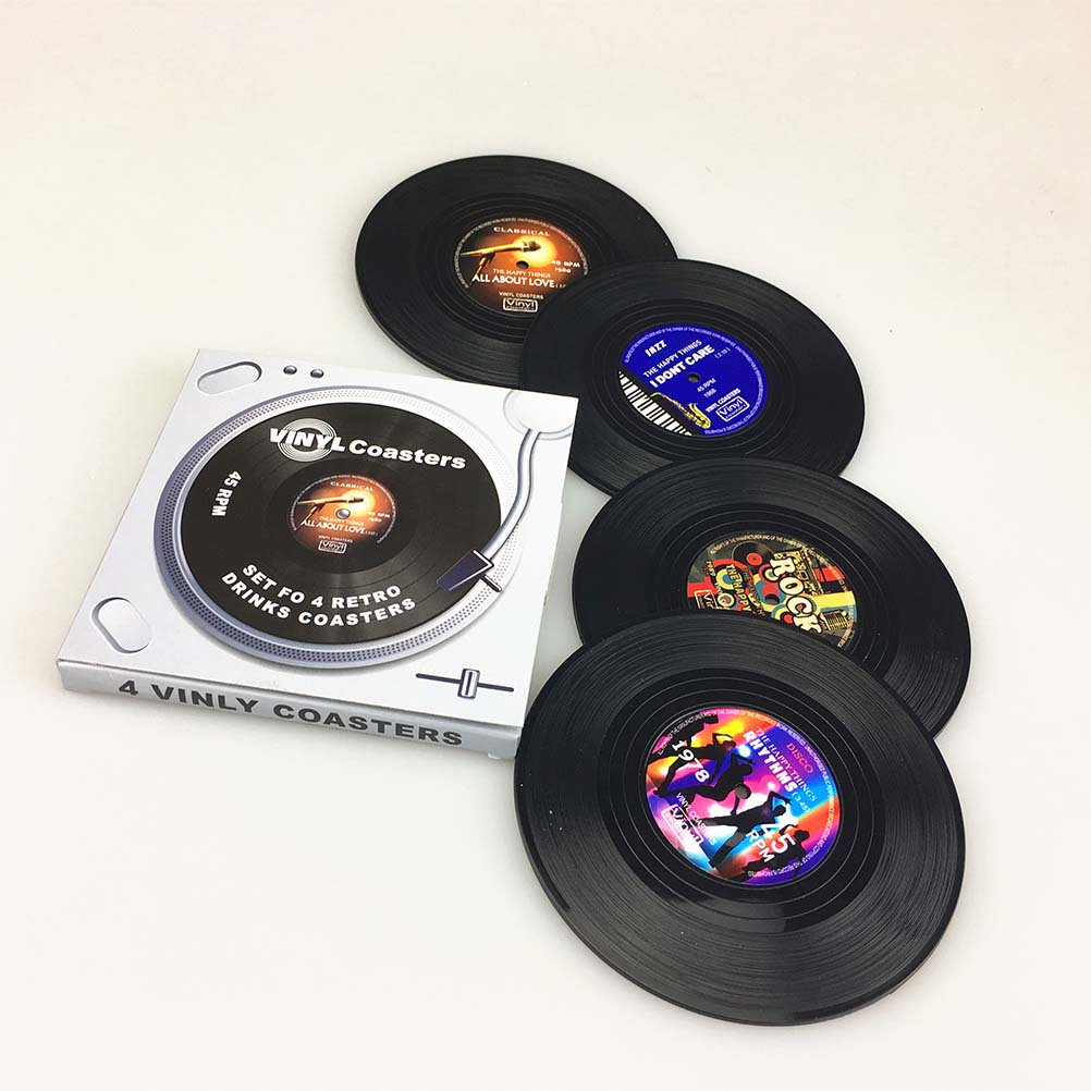 4pcs Spinning Vintage Vinyl Record Drinks Coasters Cup Mat(China (Mainland))