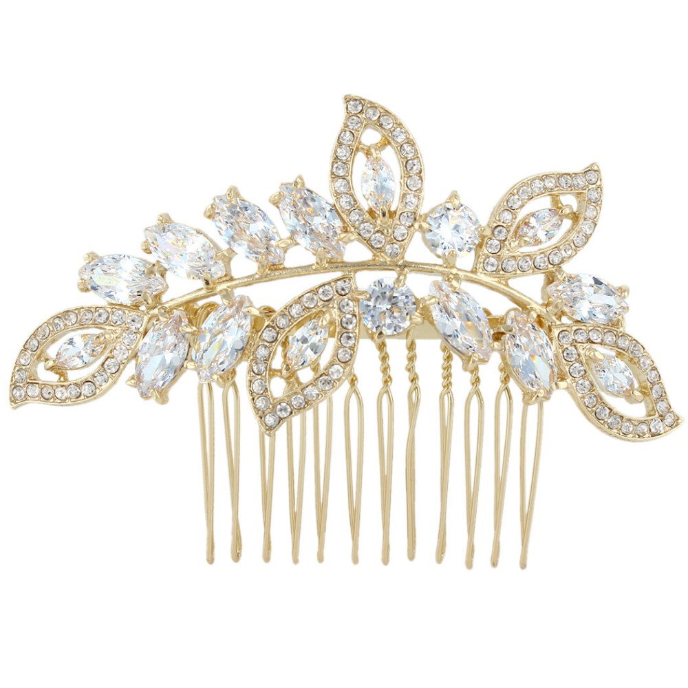 Bella 2015 Flawless AAA Cut CZ Zircon Gold Palted Bridal Droplet Hair Comb Clear  Austrian Crystal For Women Bride & Bridesmaid