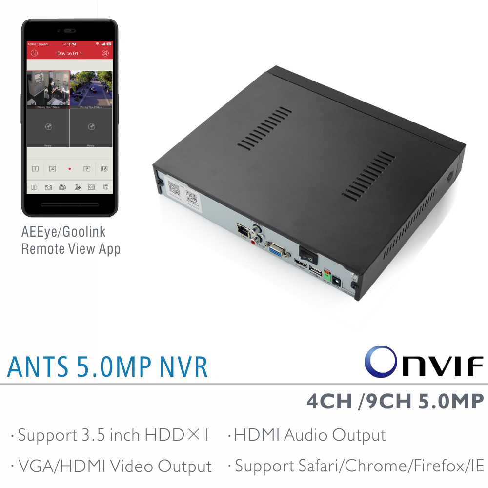 ANTS Factory Direct 4CH / 9CH 5MP 4MP 3MP NVR with AEEye and Goolink P2P App live view and playback support HDMI Audio output(China (Mainland))