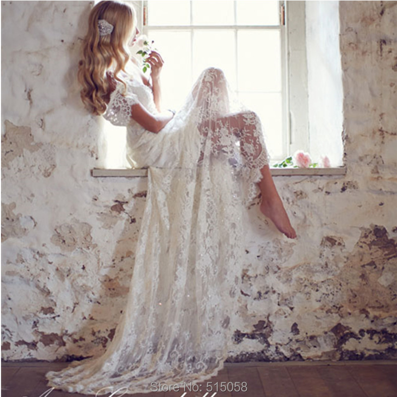 Buy vintage lace mermaid wedding dresses for Vintage lace wedding dress open back