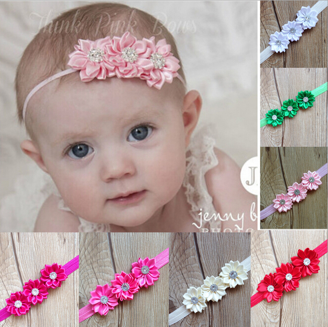 Baby 2 layer with diamond Polyhedrosis flower hair accessories headdress Elastic hair band Headwear Baby photographed props A309(China (Mainland))
