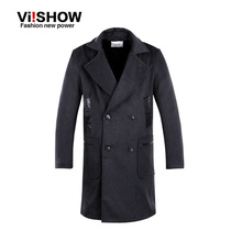 Viishow Winter Fashion Trench Coat Long Slim Fit Coat Men's Casual Long Double-Breasted Turn-Down Collar Dust Coat for Men(China (Mainland))