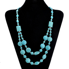 Hot Turquoise Beads Choker Vintage Necklaces Pendants Statement Necklaces & Pendants Long Necklace Women Jewelry Collares 2016(China (Mainland))