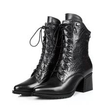 2015 nuevo cuero genuino de la motocicleta martin botas a media pierna para mujeres, otoño invierno botas de nieve planos del cuero más el tamaño 34-42(China (Mainland))