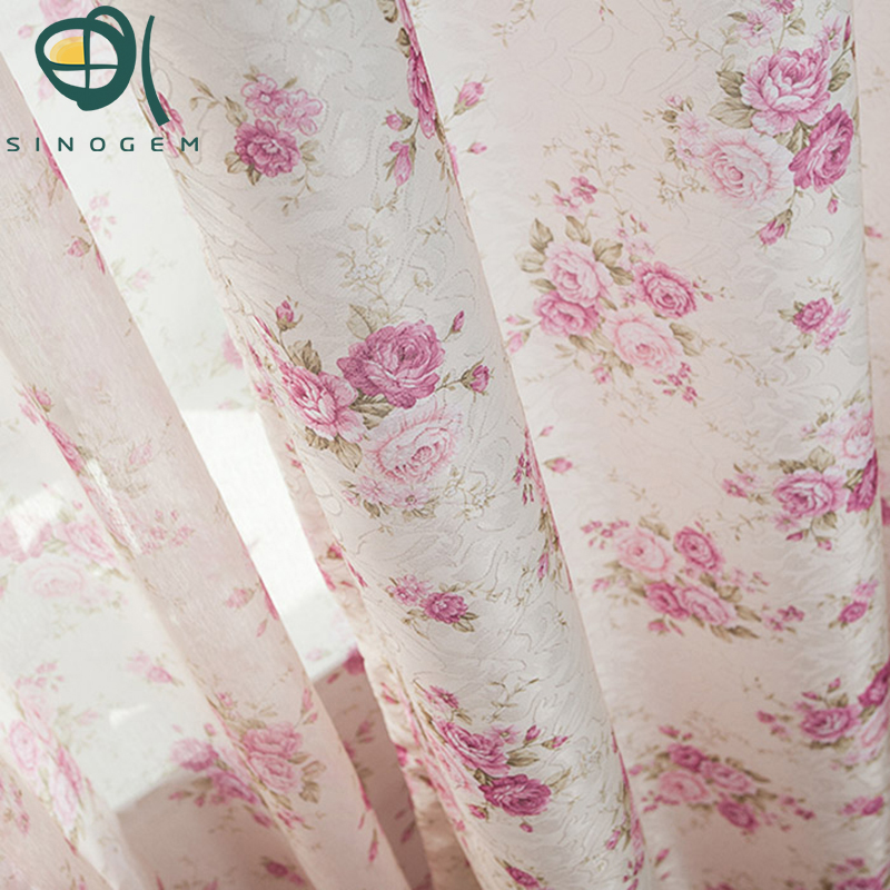 Promotion!Hot & wholesale 1 meter flower curtain/gauze voile sheer tulle customized for living room,Red/Purple(China (Mainland))