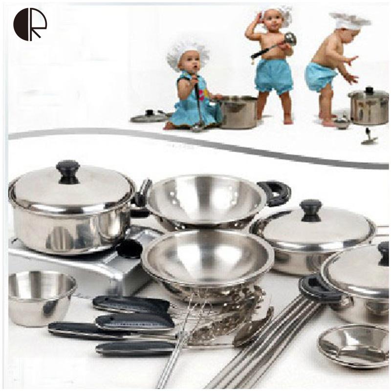 Kids Pretend Play Kitchen Toys 18pcs/set Kitchenware Miniature Cooking Set For Children Kitchen Accessories Set brinquedo HT139(China (Mainland))