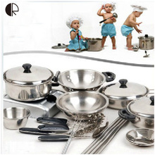 Kids Pretend Play Kitchen Toys 18pcs/set Kitchenware Miniature Cooking Set For Children Kitchen Accessories Set brinquedo HT139(China (Mainland))