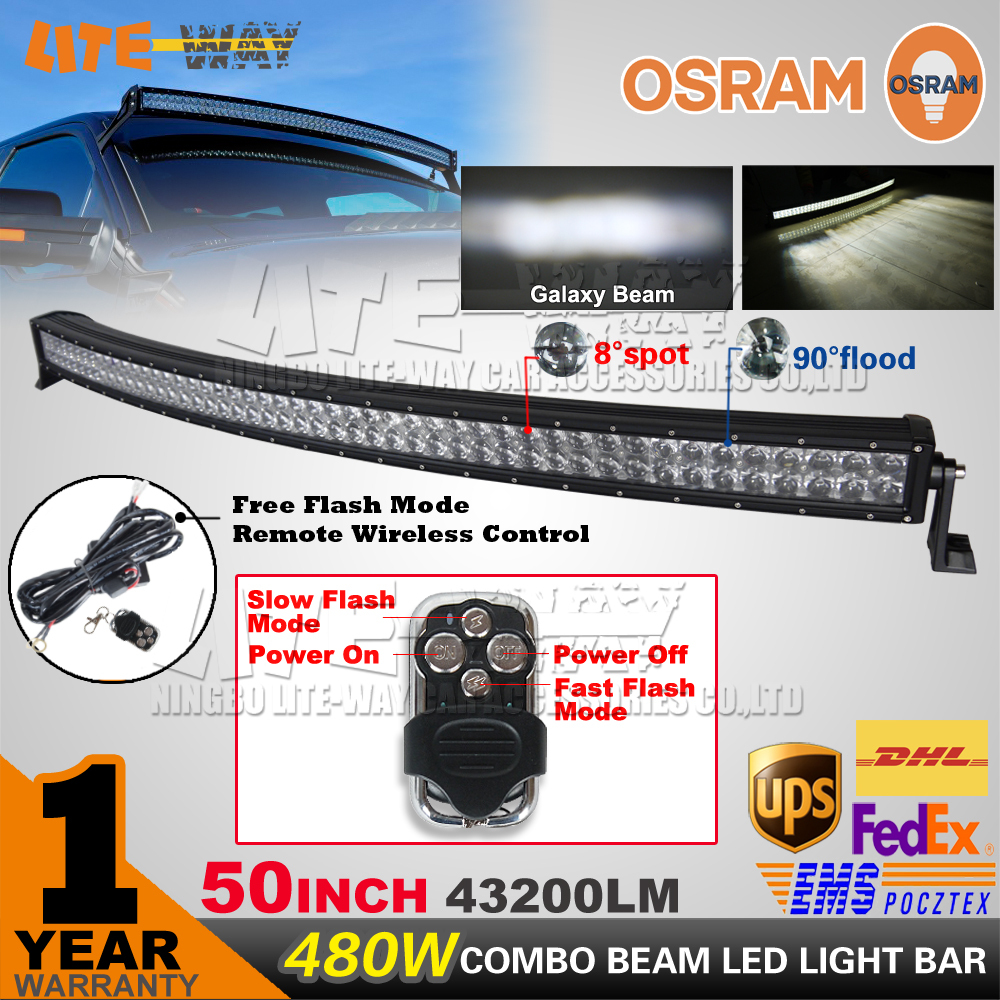 50 inch 480W OSRAM Curved LED Light Bar led offroad Light + REMOTE WIRING KIT 4x4 UTV 4WD SUV Truck Car Offroad Driving Lamp(China (Mainland))