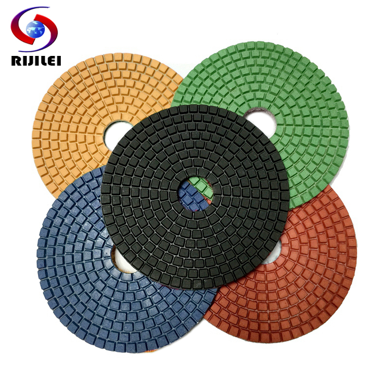 (5DS1) 7pieces/lot 125 mm diamond floor polishing pad granite 5 inch Flexible Burnishing Buffing Cleaning Pad - RIJILEI GZ Store store