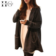 Autumn Hot Selling Cardigan Women Full Sleeve Long Loose Knitted Cardigans Hooded Sweater For Young Lady WZL304(China (Mainland))