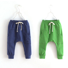 Hot selling size90~130 solid color children pants boys trousers girls harem pants candy child 5 colors(China (Mainland))