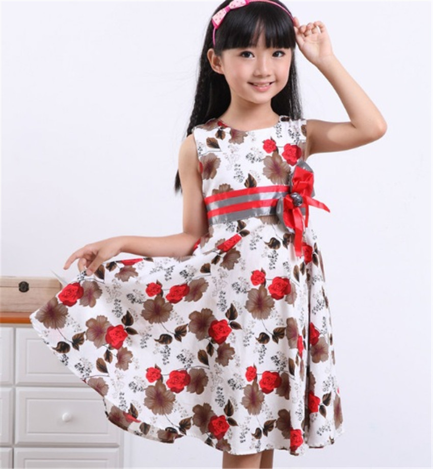 2015 Fashion Girls Red Bow Trendy Flower Vestidos Girls Christmas Dress Girls Summer Birthday Party Flower Princess Dress 3-12y(China (Mainland))