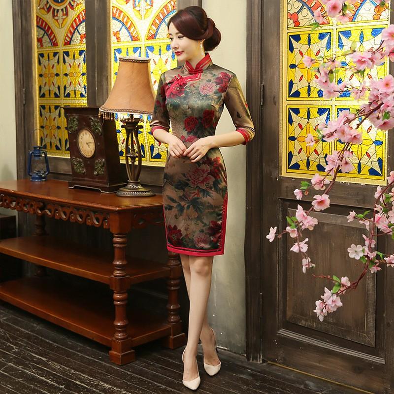 มาใหม่สตรีผ้าไหมขนาดเล็กCheongsamจีนแฟชั่นสไตล์การแต่งกายที่สวยงามบางQipaoรสเสื้อผ้าขนาดSml XL XXL F072633 ถูก