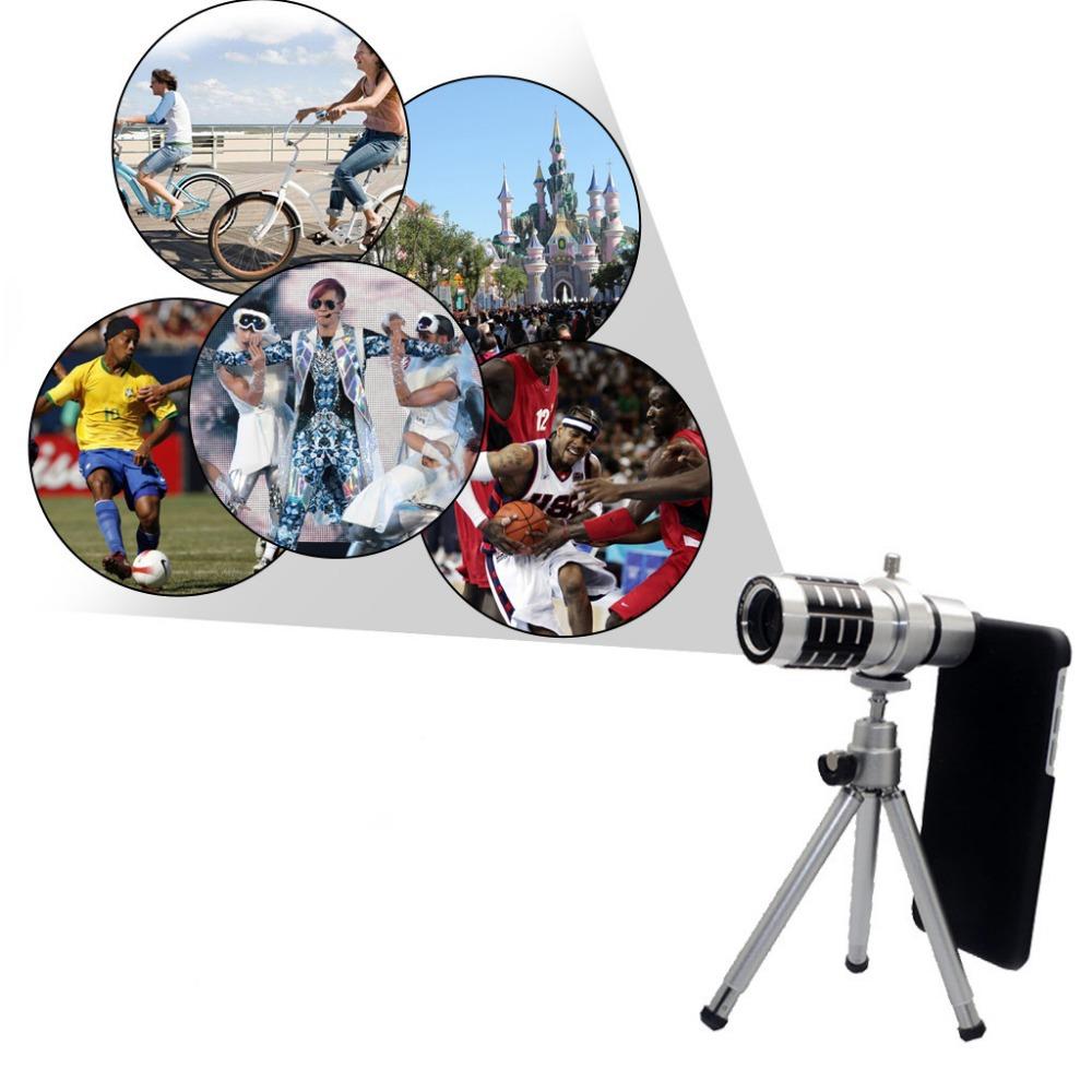 12xAluminum Telescope Camera Lens Kit Portable Optical Zoom Manual Focus Mini Tripod & Case Kit For Ios(China (Mainland))