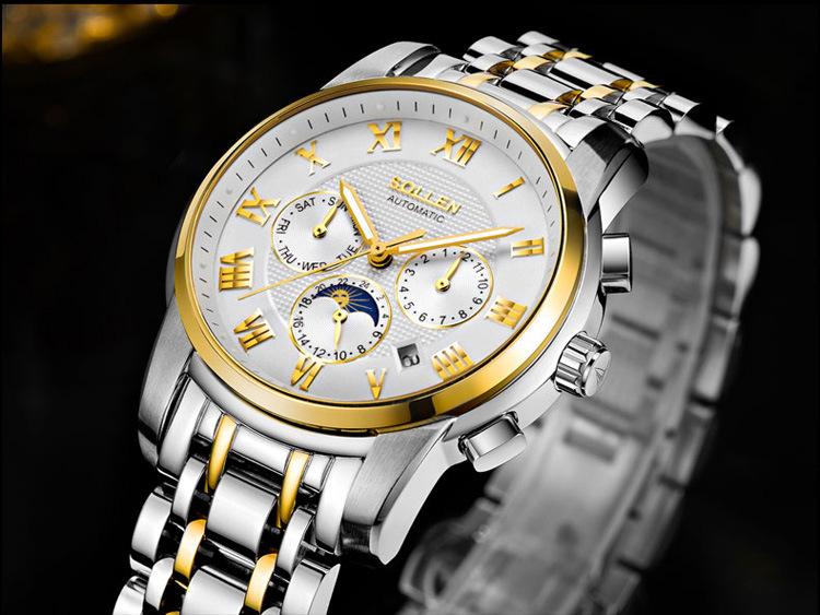 SOLLEN 41 мм между Золотом лицо автоматические механические часы стальной ленты мужские часы, 24 часов в неделю дисплей показывает отправить пояс