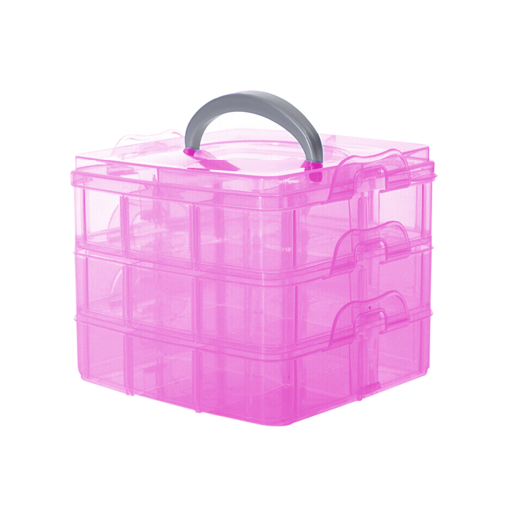 Work well fashion jewelry packaging display box case Plastic 3 floor detachable Portable Storage Container Organizer Tools(China (Mainland))