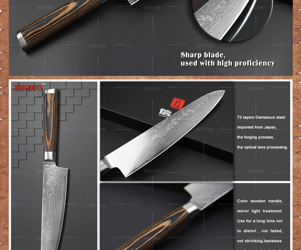 """Buy XINZUO 8"""" chef knives high quality fashion Japanese VG10 Damascus kitchen knife woman chef knife color wood handle Free shipping cheap"""