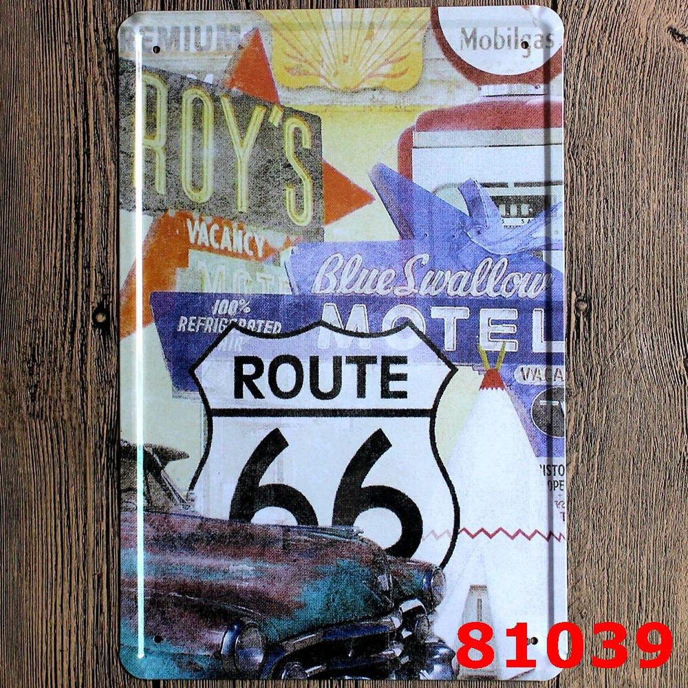 USA NO.ROUTE 66 Wall Sticker Vintage Printing Metal Plaque Wall Sticker House Metal Painting Tin Sign 20*30CM(China (Mainland))