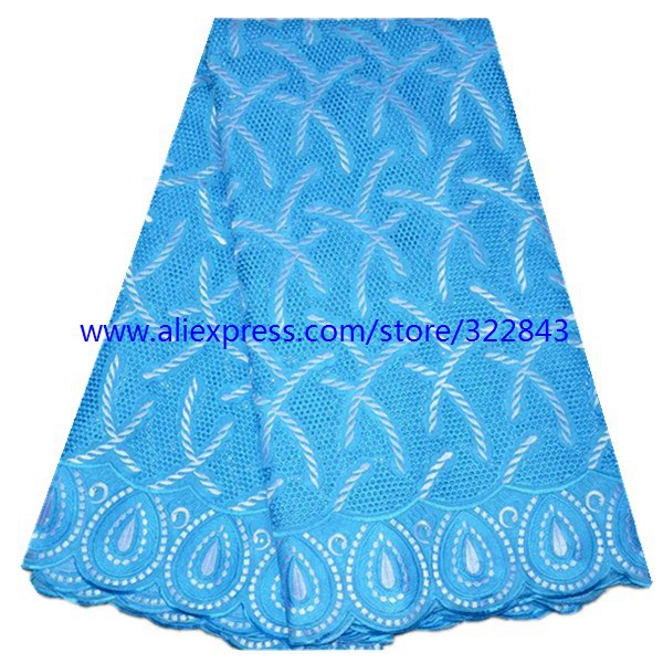 Free shipping African swiss voile lace high quality ,wedding lace African Fabric 5y/pcs 100% Cotton Swiss Voile sky blue color