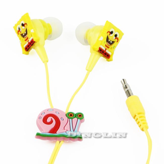 5pcs/Lot Cartoon Character SpongeBob Gary Funny Kids Cool Headphones Earphone Earbuds 3.5mm In-Ear Mp3 Gift Free Shipping E09(China (Mainland))