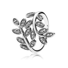 New Arrive Beauty Leaf Rings Compatible With Pandora Jewelry European Style Size #6-9 %100 925 Sterling Silver Ring JBDP4