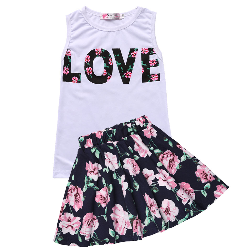 New Fashion Girls Clothing Sets Summer Sleeveless T Shirt Top and Floral Skirt Cute Baby Girls ...