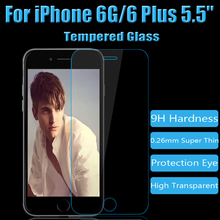 """Anti-Fingerprint Coating 0.26MM 2.5D Tempered Glass Screen Protector For iPhone 6G & 6G Plus 5.5"""" Protective Film Free Shipping"""